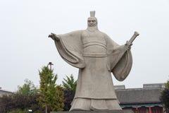 HENAN KINA - Oktober 26 2015: Staty av Cao Cao (155-220) på Weiwud Fotografering för Bildbyråer