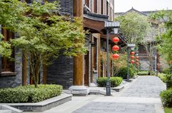 Red lantern and ancient architecture Royalty Free Stock Photos