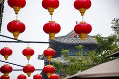 Red lantern and ancient architecture Stock Photo