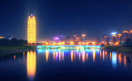 Henan Zhengzhou city building Night Royalty Free Stock Photos