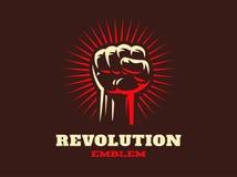Hend революции вверх по иллюстрации эмблемы на темной предпосылке иллюстрация штока
