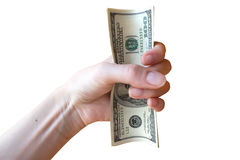 Hend with dollars. On white background Stock Images