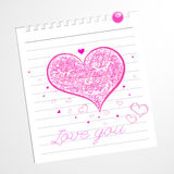 Hend draw heart.Love you message Royalty Free Stock Photos