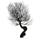Hend drown realistic silhouette of tree. Royalty Free Stock Photos