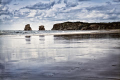 Hendaye beach in Pays Basque, France. The beach in Hendaye, Pays Basque, France stock photo
