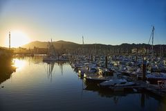 Port de plaisance, the leisure harbour of Hendaye, Aquitaine, Fr Royalty Free Stock Image