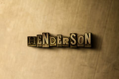HENDERSON - close-up of grungy vintage typeset word on metal backdrop Royalty Free Stock Photos
