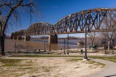 Henderson Railroad Bridge - Ohio River, Kentucky & Indiana Royalty Free Stock Images