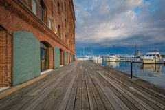 Henderson`s Wharf, in Fells Point, Baltimore, Maryland.  royalty free stock photo