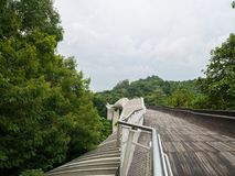 Henderson Waves Bridge Singapore Pedestrian Bridge. Henderson Waves Bridge with Undulating Curved Steel and Curved Wood Floor, is the highest pedestrian bridge Royalty Free Stock Photo