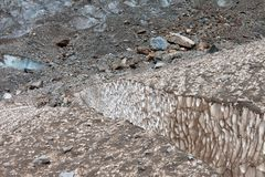Hendiduras en glaciar Foto de archivo