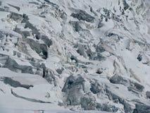 Hendiduras más galcier Monte Bianco de las montañas de las montañas Fotografía de archivo libre de regalías