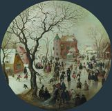 Hendrick Avercamp - μια χειμερινή σκηνή με τους σκέιτερ κοντά στο Castle στοκ εικόνα