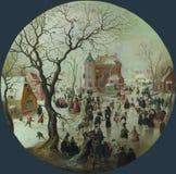 Hendrick Avercamp - een de Winterscène met Schaatsers dichtbij een Kasteel stock afbeelding