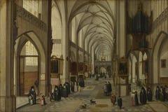 Hendrick van Steenwyck Jonger en Jan Brueghel Ouder - het Binnenland van een Gotische Kerk die het Oosten kijken stock afbeeldingen