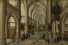Hendrick van Steenwyck the Younger and Jan Brueghel the Elder - The Interior of a Gothic Church looking East stock images