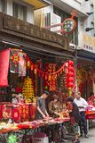 Traditional shop selling Chinese New Year decorations royalty free stock images