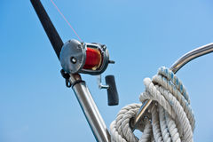Hengel en spoel op een jacht Royalty-vrije Stock Afbeelding