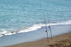 Hengels in het mediterrane zand royalty-vrije stock foto