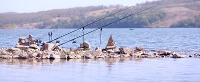 Hengels op het meer Stock Fotografie