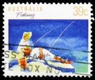 Hengelsport, Sporten serie, circa 1989 royalty-vrije stock foto's