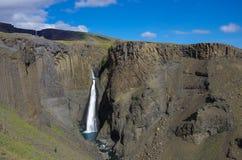 Hengifoss jest drugi wysokim siklawą na Iceland Najwięcej s Obraz Royalty Free