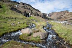 Hengifoss siklawa, Iceland Zdjęcia Stock