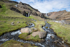 Hengifoss-Wasserfall, Island Stockfotos
