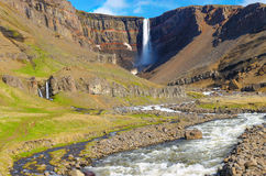 The Hengifoss waterfall in Iceland Royalty Free Stock Images