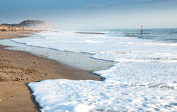 Hengistbury head. Incoming tide at hengistbury head bournemouth on a winters afternoon Stock Photo