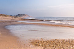 Hengistbury Head. Outgoing  tide on a winters afternoon at hengistbury head Royalty Free Stock Photography
