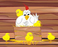 In the henhouse  -  hen and her chicken Stock Photography