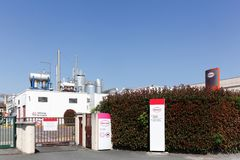 Henkel manufacturing plant in France. Arnas, France - June 30, 2018: Henkel manufacturing plant. Henkel is a German chemical and consumer goods company Royalty Free Stock Photography