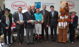 Henkel Stutenpreis 2012. Duesseldorf Germany , May 1st 2012 Today the Henkel sponsored Filly's Race prize was presented. The main race was won by the Filly Royalty Free Stock Photography