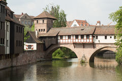 Henkersteg bridge, Nuremberg, Germany Stock Images