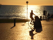 Henley Bike Silhouette 2. Photo taken at Henley Square featuring a cyclist (Adelaide, Australia royalty free stock photos