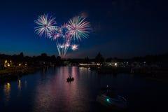 Henley Festival Fireworks, Henley-on-Thames. Fireworks over the river Thames for the annual Henley Festival in Henley-on-Thames Stock Photography