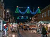 Henley Street in Stratford nach Avon zur Weihnachtszeit stockbild