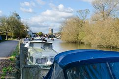 Henley on Thames, boats moored. Boats moored on the river in Henley on Thames and the Thames path Stock Photography