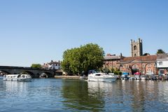 Skyline Of Henley On Thames In Oxfordshire UK With River Thames. Henley On Thames In Oxfordshire UK With River Thames In Foreground royalty free stock photo