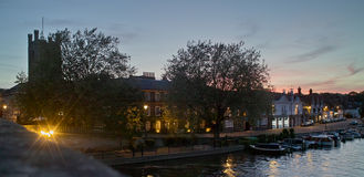 Henley on Thames. View from bridge at dusk Stock Photography