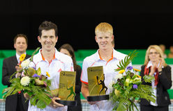 Henman (l.) and Edwards at Zurich Open 2012 Royalty Free Stock Image