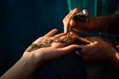 Henné étant appliqué Photo libre de droits