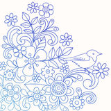 Henna αφηρημένο διάνυσμα Doodle λουλουδιών και πουλιών διανυσματική απεικόνιση
