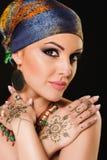 Henna, μόδα, κορίτσι, κυρία, makeup, δερματοστιξία, πέπλο, Ασιάτης, musl Στοκ Εικόνα