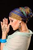 Henna, μόδα, κορίτσι, κυρία, makeup, δερματοστιξία, πέπλο, Ασιάτης, musl Στοκ Φωτογραφία
