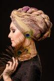 Henna, μόδα, κορίτσι, κυρία, makeup, δερματοστιξία, πέπλο, Ασιάτης, musl Στοκ Εικόνες