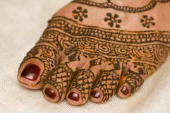 Henna. Just applied on bride's foot Stock Image