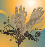 Henna. Hands with floral / arabesque designs Royalty Free Stock Image