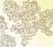 Henna Abstract Paisley Flower Doodle Vector. Hand-drawn Paisley Doodles Henna Doodle Vector Illustration Royalty Free Stock Images